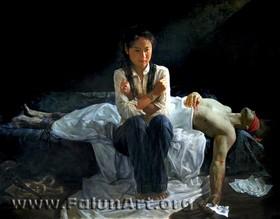"""""""טרגדיה בסין"""" (יואן לי, שמן על בד)"""