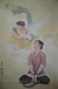 """מתוך התערוכה: """"השבועה"""" או: """"אמונה ללא כבלים""""  הציירת: אמי פאן"""