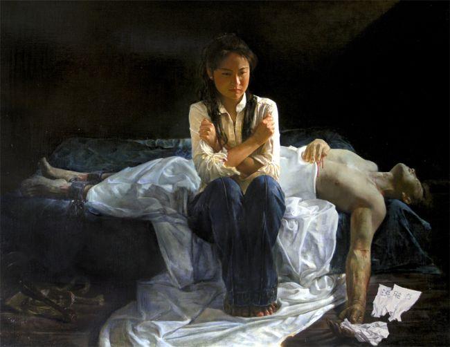"""""""טרגדיה בסין"""" הציירת: יואן לי, מתרגלת פאלון גונג יפנית"""
