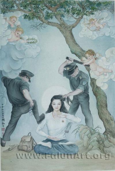 """""""בלתי ניתנת להזזה"""", ציור מכחול סיני מאת איימי לי (34 אינץ' על 55 אינץ'), 2004"""